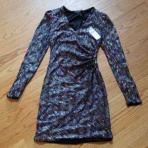 Bcbg Sequin Bodycon Long Sleeve Mini Dress S New